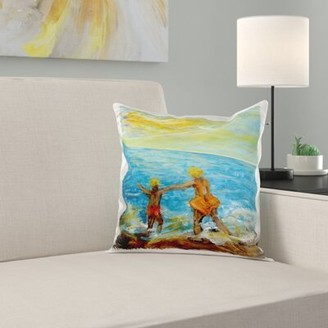 East Urban Home Surfs up, Kids Play at the Beach Pillow Cover