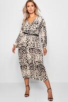 boohoo Plus Leopard Midi Dress