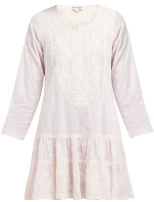 Juliet Dunn Floral-embroidered Tiered Cotton Mini Dress - Womens - Pink
