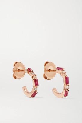 Suzanne Kalan 18-karat Rose Gold, Ruby And Diamond Hoop Earrings