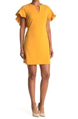 London Times Keyhole Flutter Sleeve Mini Dress