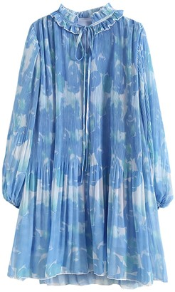 Goodnight Macaroon 'Hayley' Floral Frilled Pleated Silky Dress