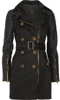 Walter W118 by Baker Keanu faux leather-sleeved cotton-twill trench coat