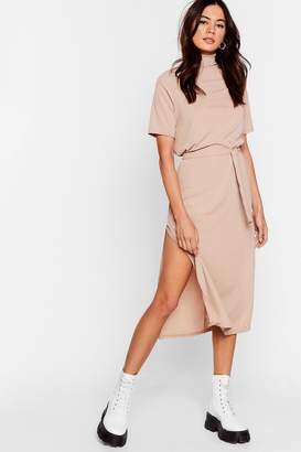 Nasty Gal Womens Tee Bt Belted Midi Dress - Beige - 6