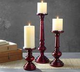 Pottery Barn Red Mercury Glass Pillar Holders
