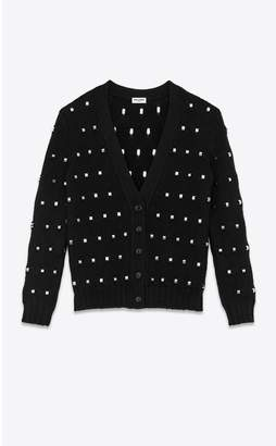 Saint Laurent Long Knit Cardigan In Wool With Ring Details