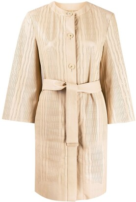 Drome Perforated Belted Coat