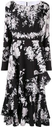 Ingie Paris Floral Long-Sleeve Midi Dress