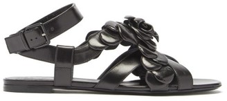 Valentino Atelier Petal-effect Leather Sandals - Black
