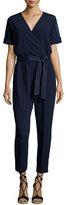 Trina Turk Rumi Short-Sleeve Faux-Wrap Jumpsuit, Blue
