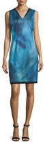 Elie Tahari Emory Sleeveless Printed Sheath Dress, Dark Refresh