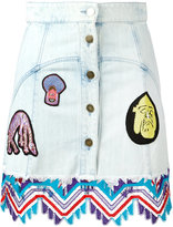 Peter Pilotto denim guipare lace patch skirt - women - Cotton - 10