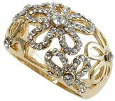 Love Rocks Crystal & Goldtone Floral Cutout Ring
