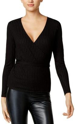 Kensie Women's Rayon Rib Long Sleeve Wrap Top