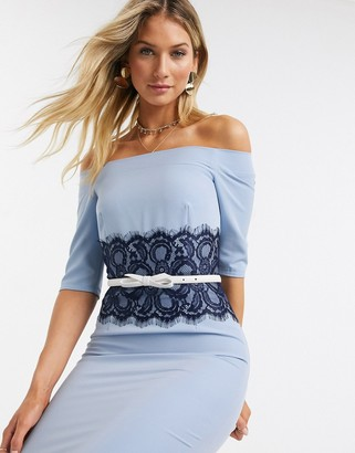 Paper Dolls Lowndes bardot dress with lace waist in blue