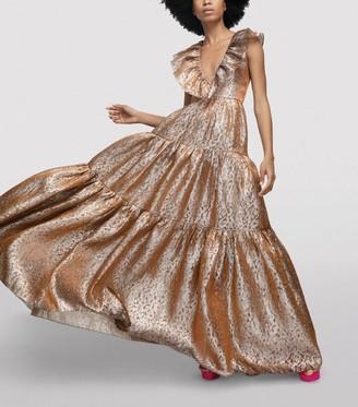 Halpern Metallic Tiered Gown