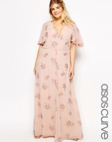 Asos Flutter Sleeve Maxi Dress With Pretty Lurex Flower