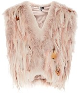 Topshop Cropped Feather Gilet