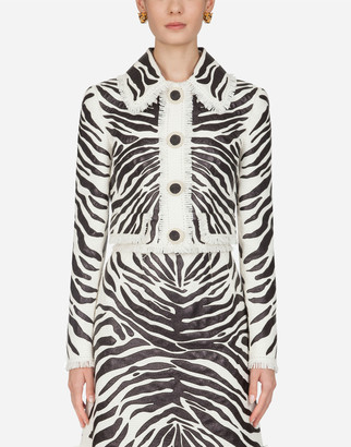 Dolce & Gabbana Short Single-Breasted Leather Jacket With Zebra Print Embroidery