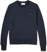 Ami - Embroidered Loopback Cotton-jersey Sweatshirt