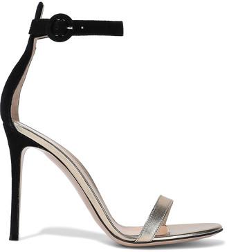 Gianvito Rossi Portofino 105 Suede And Metallic Leather Sandals
