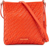 Cole Haan Lena Woven Leather Crossbody Bag, Citrus Red