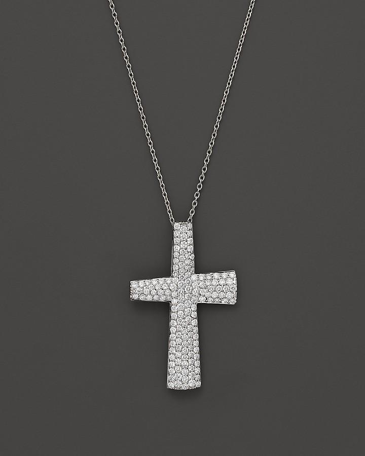 "Roberto Coin Large Scalare Diamond Cross Pendant in 18K White Gold, .82 ct. t.w., 18"""