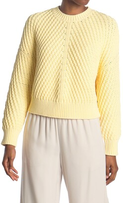 Vince Drop Shoulder Ribbed Crew Neck Cotton Blend Sweater