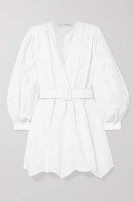 Off-White Off White Belted Broderie Anglaise Cotton-blend Mini Dress - IT46