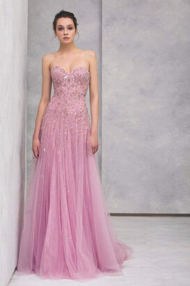 Tony Ward Strapless Lace Gown