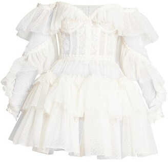 ZUHAIR MURAD Lace Off-The-Shoulder Mini-Dress