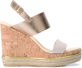 Hogan metallic wedge sandals