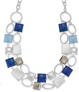 Charter Club Necklace, Silver-Tone Blue Square Bead Circle Link Two-Row Necklace