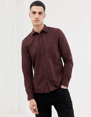 Nudie Jeans Henry button down shirt in plum-Purple