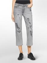 Calvin Klein Boyfriend Fit Destroyed Ankle Jeans