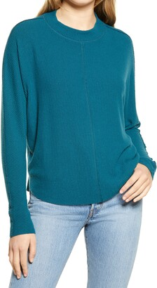 Treasure & Bond Mock Neck Rib Pullover