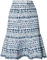 Oscar de la Renta abstract stripes A-line skirt