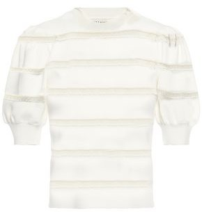 Alice + Olivia Lace-trimmed Stretch-knit Top