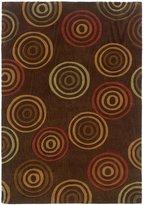 Linon Rugs Trio Rectangular Area Rug in Chocolate and Terracotta - 5' x 7'
