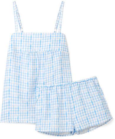 Three J NYC Jolie Checked Silk Pajama Set - Blue
