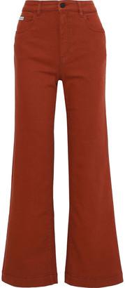 ALEXACHUNG Stretch-cotton Twill Flared Pants