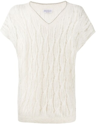Brunello Cucinelli Patterned Open Knit T-Shirt