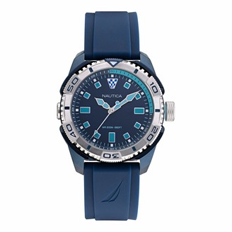 Nautica Men's Tarpoon Dive Stainless Steel Japanese Quartz Silicone Strap