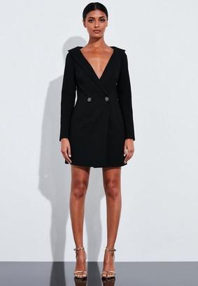 Missguided Black Embellished Button Blazer Dress