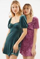 Urban Outfitters UO Cassandra Velvet Puff Sleeve Mini Dress