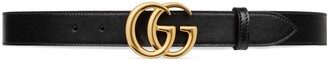 Gucci GG Marmont leather belt with shiny buckle
