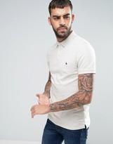 Jack Wills Ainslie Jersey Polo Small Logo in White Marl