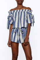 Sage Blue Stripe Print Top