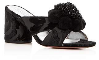 Marc Jacobs Women's Aurora Embellished Faux-Fur & Pom-Pom Block Heel Slide Sandals