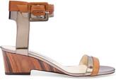 Jimmy Choo Mansy metallic-paneled leather wedge sandals